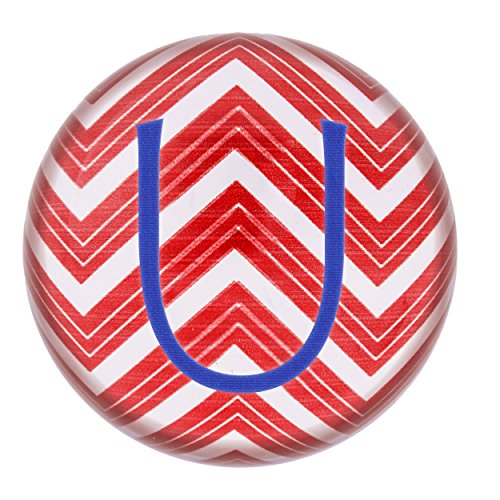 Concepts Cathys Decoration Table (Cathy's Concepts Personalized Chevron Domed Glass Paperweight, Letter U, Red/White/Blue)