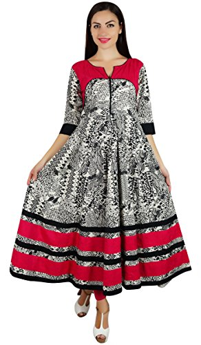 Bimba Women Long Designer Anarkali Kurti 3/4 Sleeve Kurta Maxi Blouse Black