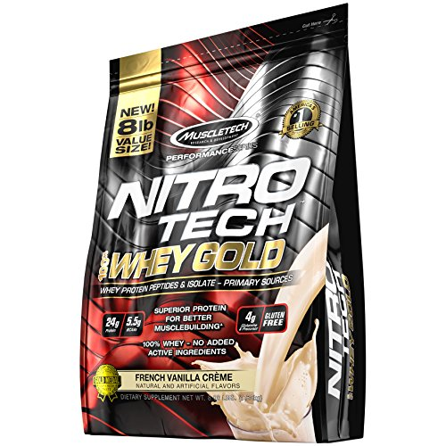 MuscleTech NitroTech 100% Whey Gold, Whey Isolate & Peptides, French Vanilla Cream, 8 Pound