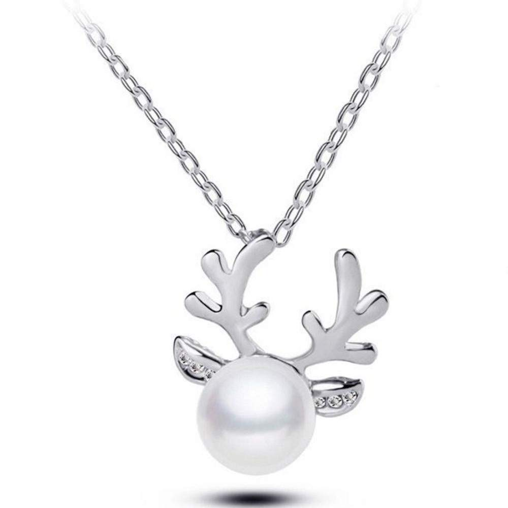 FEDULK Nacklace,Womens Pendant Chain Creative Reindeer Fashion Trends Deer Novelty Necklace(Silver, One Size)