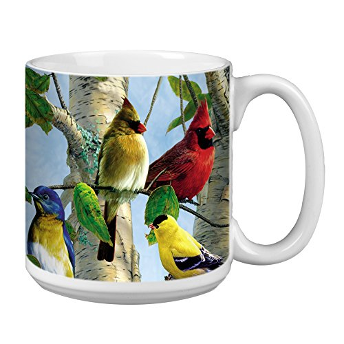 Bird Large Mug - Tree-Free Greetings Extra Large 20-Ounce Ceramic Coffee Mug, Favorite Songbirds Themed Bird Art (XM29507)