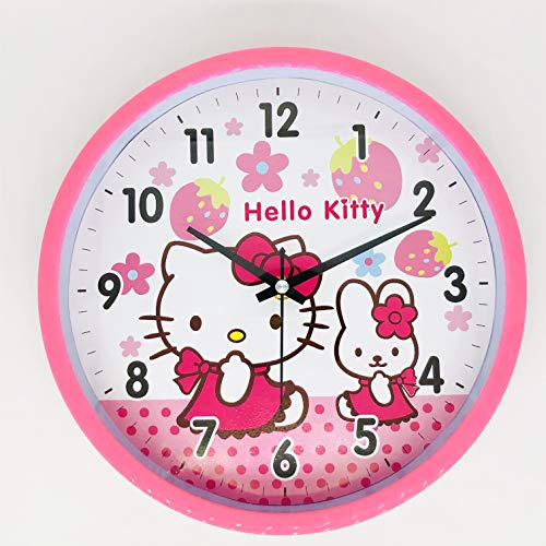 (GuliWater Cute Cartoon Two Cats Wall Clock Silent Non Ticking Quality Quartz Battery Operated Wall Clocks, Easy to Read Black Number, Pink Frame (10.2 inch))