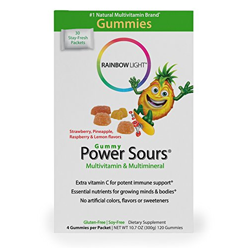 Rainbow Light - Power Sours Multivitamin & Mineral - Gummy Multivitamins with Key Nutrients, High Potency Vitamin C; Supports Nutrition and Immunity in Kids, Delicious Sour Fruit Flavors - 30-Pack Box (Gummy Power Sours)
