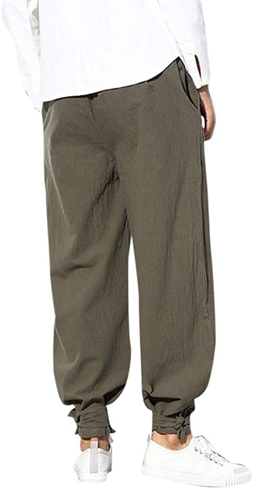 Firally Pantaloncini Uomo Estivi Casual Elasticizzati Pinocchietti Pantaloni alla Caviglia Loose retr/ò Stile Etnico Fascio Gamba Larga Harem Pants