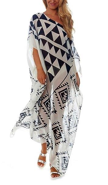 3e0233cdeaf39 RanRui Women's White Ethnic Print Kaftan Maxi Dress Summer Beach Dress  (3201)
