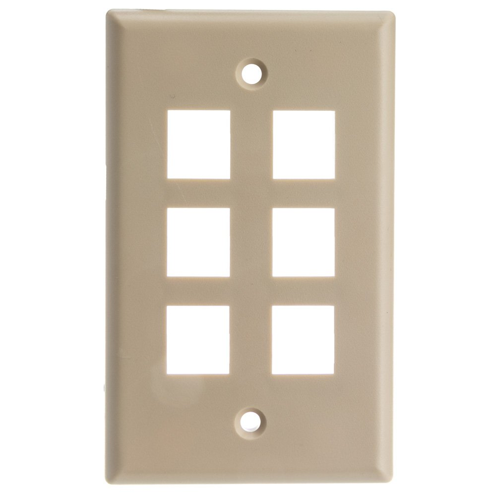 ACL Keystone 6 Port, Single Gang Wall Plate, Beige, 100 Pack by ACL