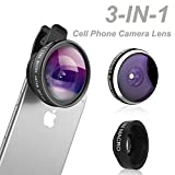 Comsun Phone Lens, Comsun 3 in 1 Universal Clip-on Cell Phone Camera Lens Kit, 235 Degree Fisheye, 0.4X Wide Angle, 19X Macro for Tablet Smartphone