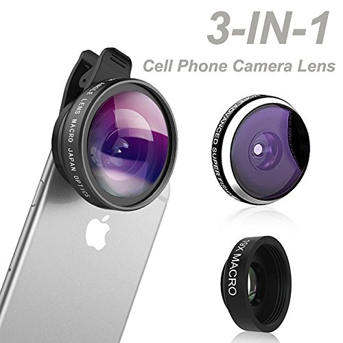 Phone Camera Lens, Comsun 3 in 1 Universal Clip-on Cell Phone Camera Lens Kit, 235 Degree Fisheye, 0.4X Wide Angle, 19X Macro for iphone for ipad Tablet Smartphone (235 Degree Fisheye Lens compare prices)