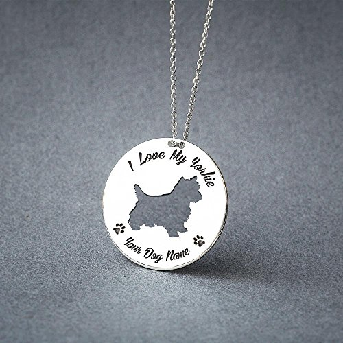 "Personalized ""I love my Yorkie"" Disc Necklace"