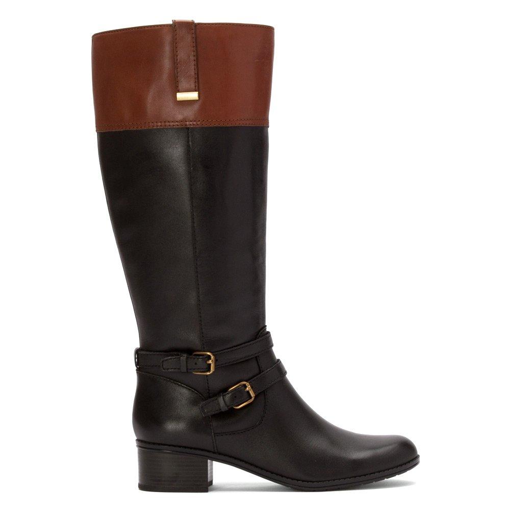 87fe773f728 Bandolino Women's Carlotta Wdie Calf Leather Boots Black/Brown 7.5M ...