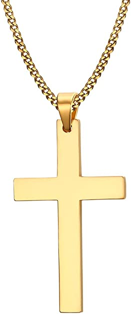 Dreamstone Stainless Steel Simple Cross Pendant Necklace For Men