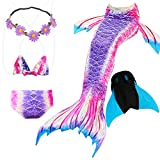 GALLDEALS Mermaid Tails Swimming Monofin Girls Kids Swimwear Bathingsuit