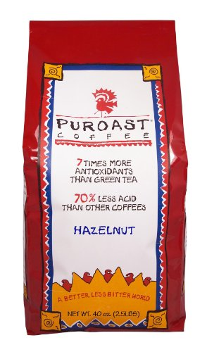 Puroast Low Acid Coffee Hazelnut Flavored Coffee Whole Bean, 2.5-Pound Bag