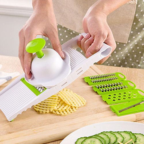 Mandolin Vegetable Slicer, Multi-function Vegetable Food Cutter Fruit Slicer with 5 Blades Easy Use and Clean Vegetable Food Grater Chopper for Potato, Tomato, Carrot, Onions, Cucumber