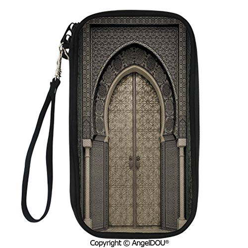 (PUTIEN Hand Strap Design Travel Passport Wallet Aged Gate Geometric Pattern Doorway Design Entrance Architectural Oriental Style for Travel Bussiness.)