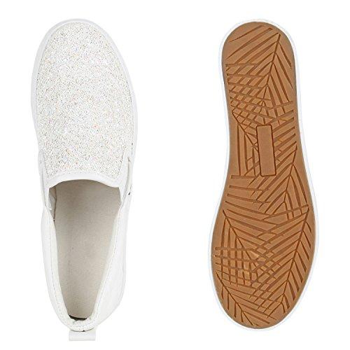 Slip Flandell Glitzer Ons Glitzer mit Stiefelparadies Sneaker Weiss Plateau Damen Plateau Ytqt0E
