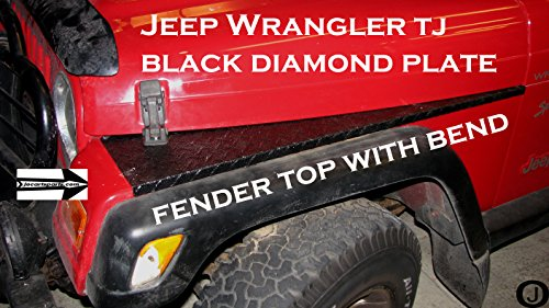 Jeep TJ Black Coated Diamond Plate Full Top Fender Cover with Bend Jeep Wrangler Diamond Plate