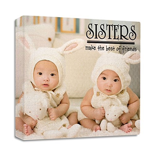 Twin Sisters Make Best freinds with Bunny Dress Streched Canvas Wrap Frame Print Wall Décor - Full Border, 28