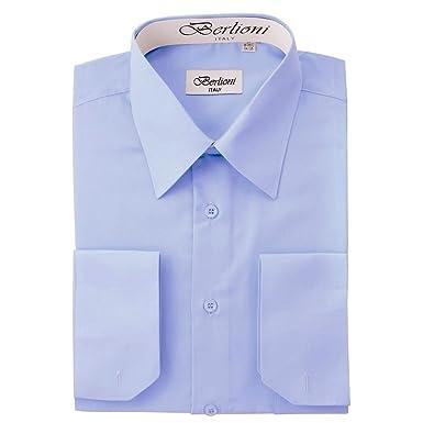 c14a81a2127c Berlioni Italy Men's Convertible Cuff Solid Dress Shirt Sky Blue-S (14-14½