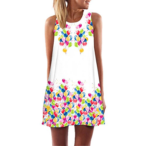 iYBUIA Summer Vintage Boho Women Loose Summer Sleeveless 3D Floral Print Bohe Tank A-Line Mini Dress(White ,)
