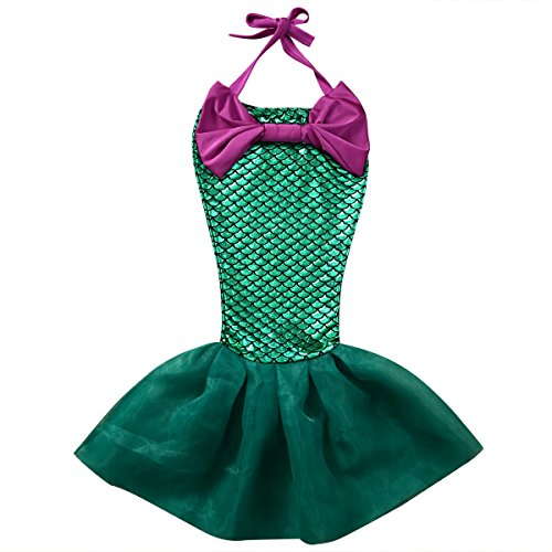 [Kid Girls Cute Mermaid Tail Swimsuit Halloween Costume Fancy Party Dress (110(4-5Y))] (Mermaid Dress For Girl)