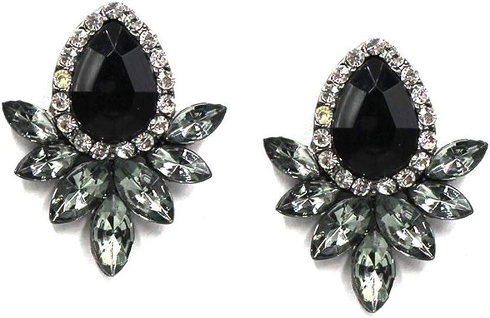 Pendientes ZZHH Pendientes de moda Pendientes de diamantes de imitación de metal dulce y piedras preciosas Pendientes de mujer Pendientes de cristal Al por mayorNegro
