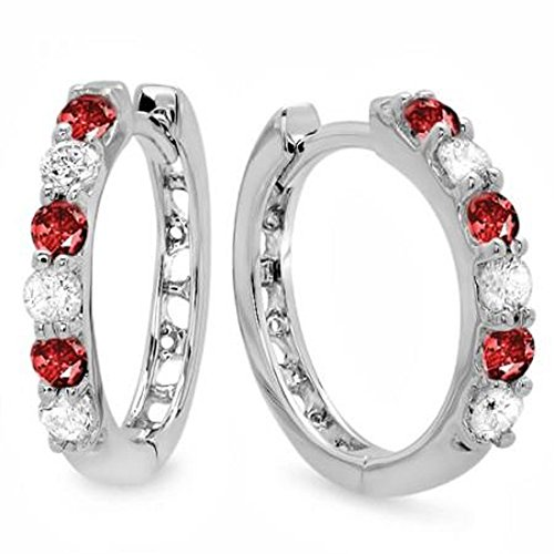 Diamond & Ruby Earrings (14K White Gold Round Ruby & White Diamond Ladies Huggies Hoop Earrings)
