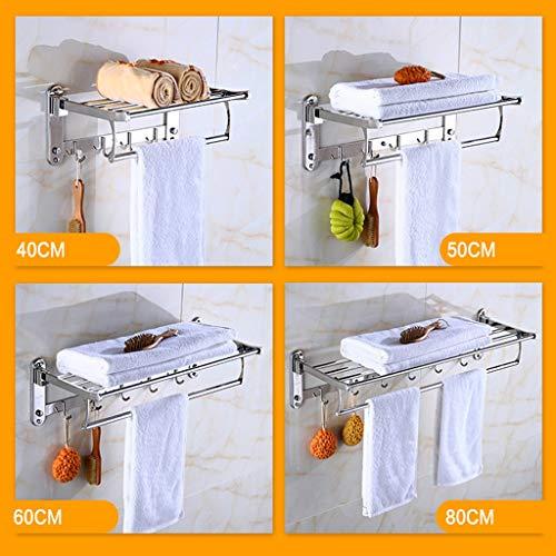 /Étag/ère murale pliable en acier inoxydable pour serviette de bain 60 cm