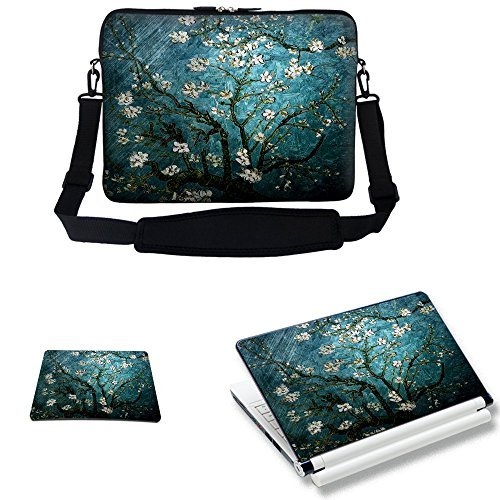 (Meffort Inc 17 17.3 inch Laptop Carrying Sleeve Bag Case with Hidden Handle & Adjustable Shoulder Strap with Matching Skin Sticker and Mouse Pad Combo - Vincent van Gogh Almond Blossoming)