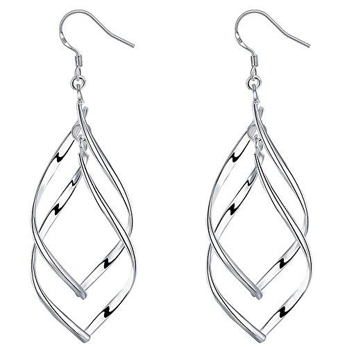 Girl Era Stainless Steel Jewelry Classic Double Linear Loops Design Silver Womens Earrings