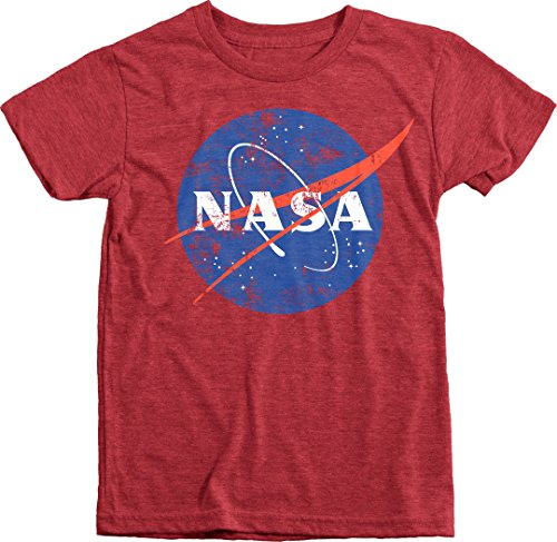 Trunk Candy Kids NASA Space Program Distressed Meatball Logo Tri-Blend T-Shirt (Vintage Red, L(10/12))