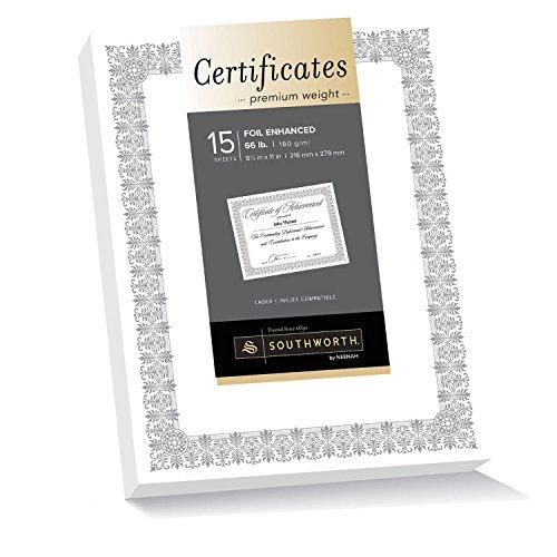 - Southworth Premium Weight Certificates, Fleur Design, Silver Foil, 66 lb, White, Pack of 15 (CTP1W)
