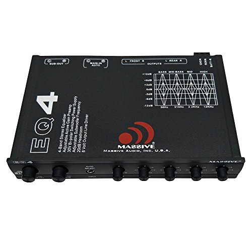 Stereo Audio Line Video Driver (Massive Audio EQ4 Car Equalizer with 4 Band Graphic Equalizer - AUX inputs - 8V Line Driver - 12dB Crossover)