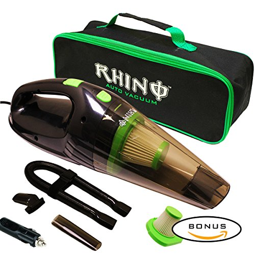 Rhino USA Car Vacuum Cleaner - 12v Handheld Portable Auto Vaccuum With Exclusive Pet Hair Extraction Brush, Powerful 116w Motor, Bonus HEPA Filter, Heavy Duty Carrying Case +