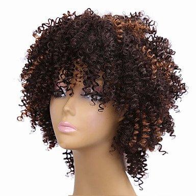 Peluca sintética para mujer, tamaño mediano, rizada, afro, marrón, africano,