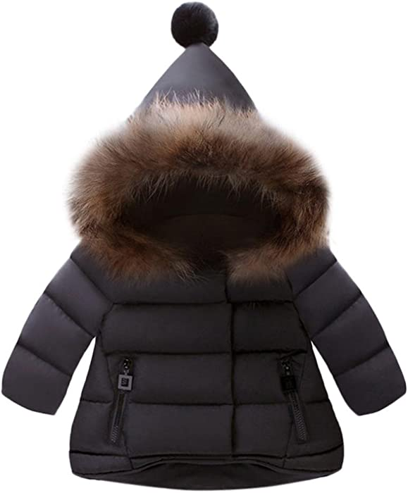 019e35aec Clearance Sale Toddler Baby Boy Girls Hooded Fur Down Jacket Winter Warm  Kids Clothes Outwear (