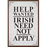 Poster Foundry Help Wanted Irish Need Not Apply Vintage Sign Stretched Canvas Wall Art 16x24 inch