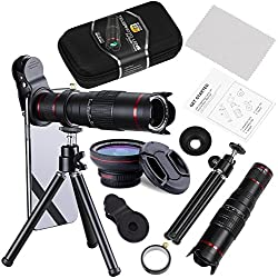 Camera Lens,BECEMURU 22X Telephoto Zoom Camera Lens Kit Double Regulation HD Scale Distance FOV Phone Lens Attachment with Tripod for iPhone X/8/7/7 Plus/6s/6/5,Samsung Galaxy Smartphone (DN0101)
