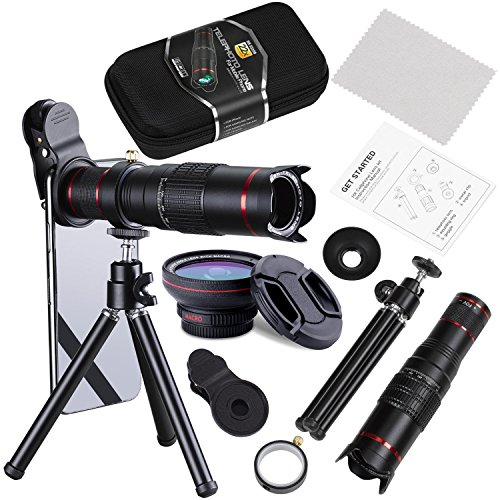 (BECEMURU Phone Camera Lens,22X Telephoto Zoom Camera Lens Kit Double Regulation HD Scale Distance FOV Cell Phone Lens Attachment with Tripod for iPhone X/8/7/7 Plus/6s/6/5,Android Smart Phone)