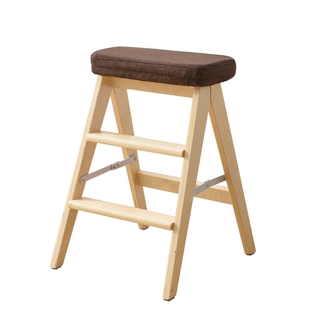 WSSF- ソリッドウッド折りたたみ3ステップラダースツール家庭用多機能ガーデンキッチンクライムハイスツールベンチ踏み台Foldable高い64センチメートル負荷ベアリング100キロ (色 : 木の色, サイズ さいず : #5) B07DL6W9LQ #5|木の色 木の色 #5