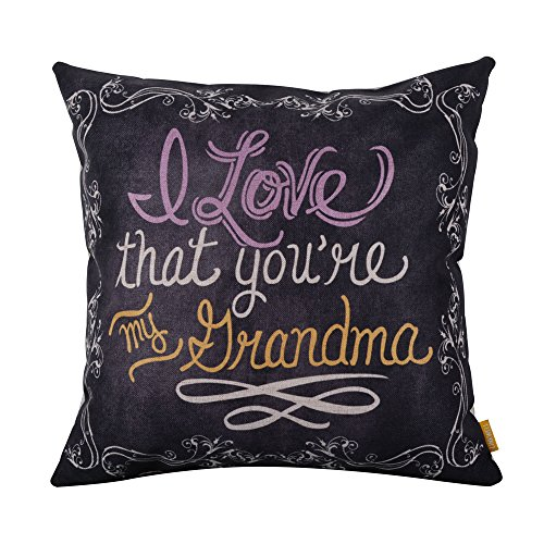 LINKWELL 18inches Square Black I Love That You are My Grandma Linen Throw Pillow Case Cushion -