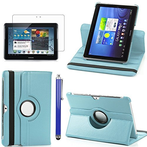Perfect Technology(TM)360 Rotating Case Cover PU Folio Leather Stand Case For Samsung Galaxy Tab 2 10.1 P5100 P7510 Auto Sleep/Wake Tablet With Screen Protector and Stylus(skyblue) by PT