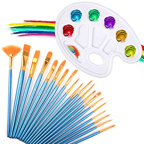 AGALORY Paint Brush Set, 20 pcs Watercolor Painting Artist Professional Painting Kits Nylon Hair Brushes with Paint Tray Palette for Acrylic Oil Painting