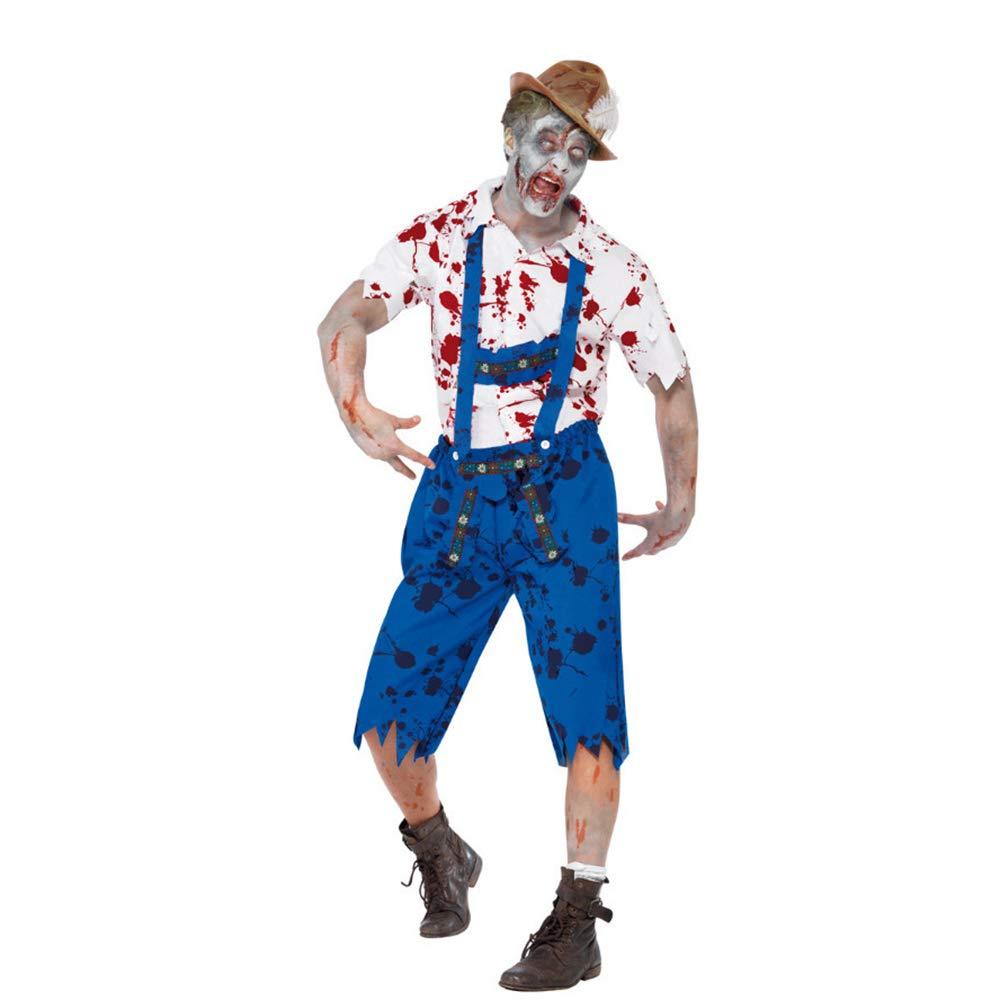 GAOJUAN 2018 Neue Halloween Cosplay Kostüm Erwachsene Cosplay Vampire Zombie Blut Gefärbt Rollenspiel Männlichen Strap Bühne Anzug Geeignet Für Karneval Thema Parteien Neujahr Festival,M
