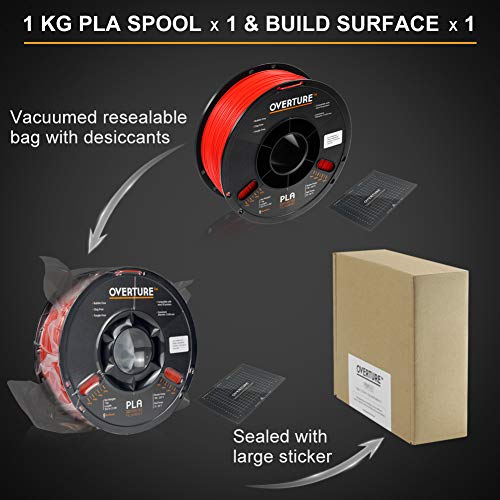 OVERTURE PLA Filament 1.75mm with 3-D Build Surface 200mm × 200mm 3-D Printer Consumables, 1kg Spool (2.2lbs), Dimensional Accuracy +/- 0.05 mm, Fit Most FDM Printer, Red
