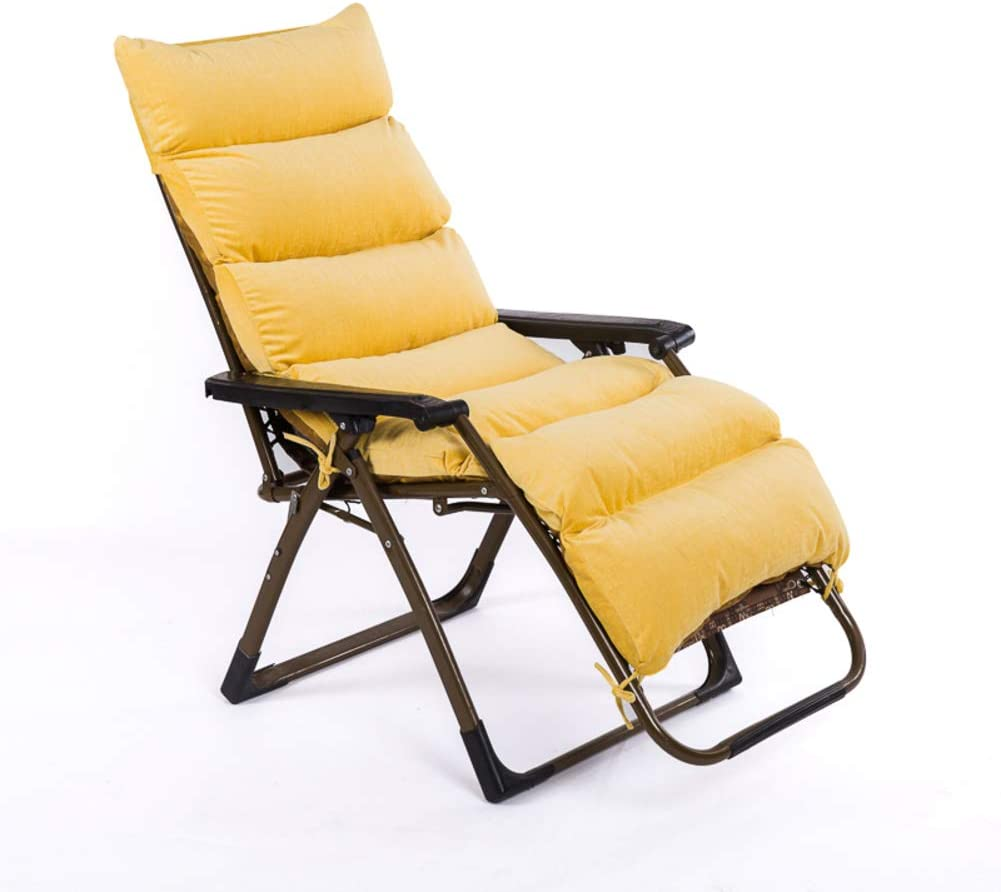 Sun Lounger Cushion Pad, Garden Patio Deckchair Chair Pads Recliner Relaxer Chair Cushion Removable Corduroy Seat Cover-Yellow 165X57cm(65x22in)