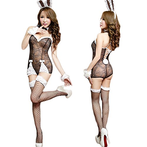 Hanerdun Womens Sexy Lingerie Naughty Bunny Uniform Rabbit Outfit, Black, One Size (Sexy Bunny Lingerie)
