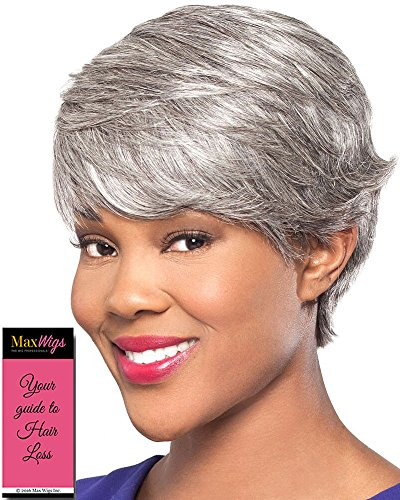 Gwen Wig Color 44 Charcoal Gray - Foxy Silver Wigs Short Feathered Cut Wispy Bangs Human Hair African American Womens Lightweight Average Cap Bundle w/MaxWigs Hairloss ()