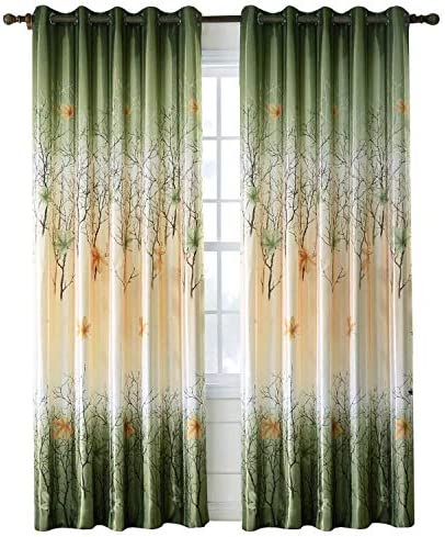 Green Maple Leaf Tree Curtains – Anady 2 Panel Grommet Top Country Drapes 50W 100L Customized Available