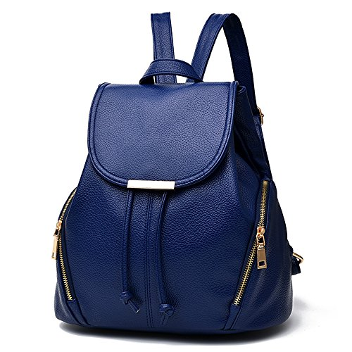 buckle pockets women in Backpacks soft brand backpack pu zipper Vvting color leather Blue with for 2 girls blue purse outside and magnet nvpvZH